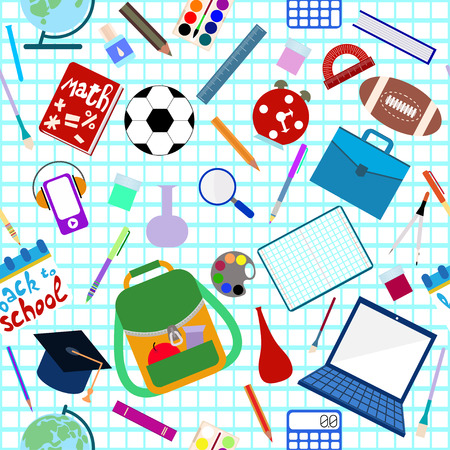 Back to school. School supplies seamless pattern. Flat design. 矢量图像