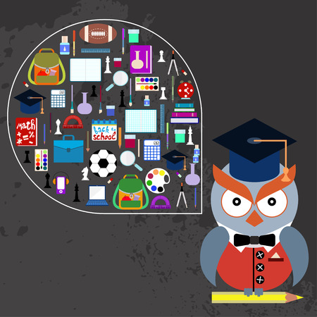 Owl with school supplies 矢量图像