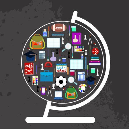 material escolar: Globo con útiles escolares