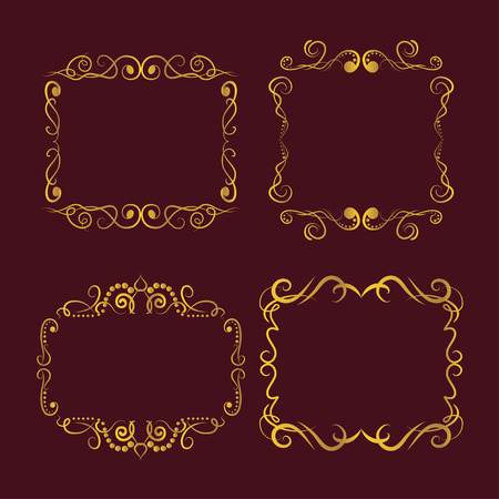 Set of golden retro frame