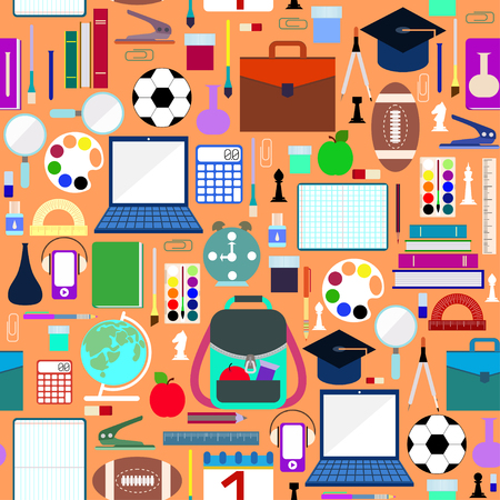 School supplies seamless pattern Illustration