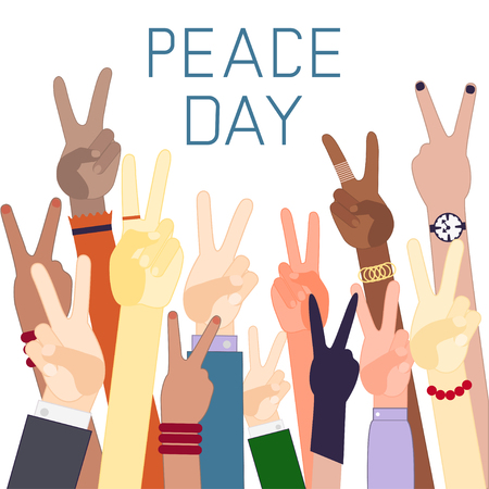 Handen van verschillende nationaliteiten met het teken van vrede. Dag van de Vrede. Plat ontwerp