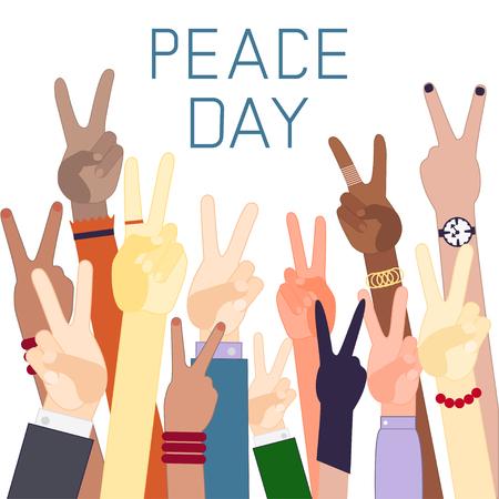 simbolo della pace: Mani di diverse nazionalità con il segno della pace. Giornata della Pace. Design piatto Vettoriali