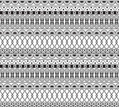 Seamless pattern in style ethnic, doodle. Black and white geometric seamless pattern. Illustration