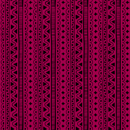 Seamless pattern in style ethnic, doodle. Red geometric seamless pattern.