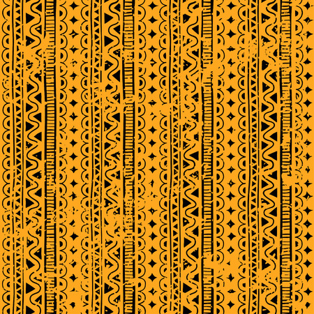 Grange Seamless pattern in style ethnic, doodle. Yellow geometric seamless pattern.