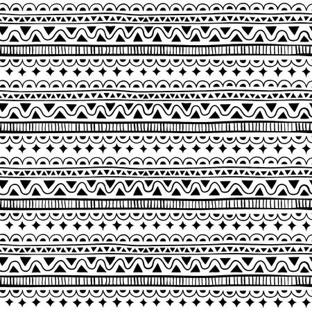 스타일 민족, 낙서 원활한 패턴입니다. 흑인과 백인 형상 원활한 패턴입니다.