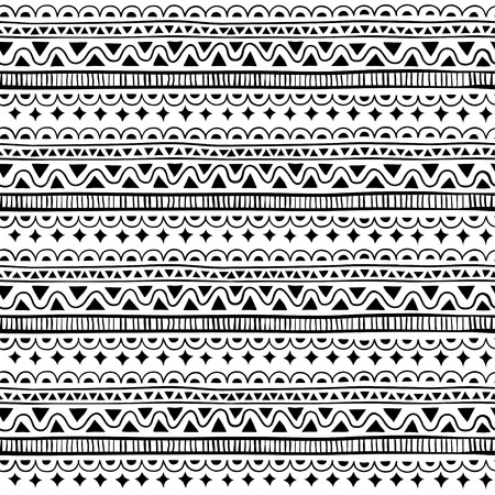 Seamless pattern in style ethnic, doodle. Black and white geometric seamless pattern. Ilustração