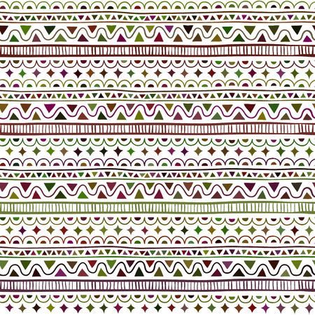 Seamless pattern in style ethnic, doodle. Color geometric seamless pattern.
