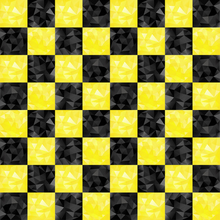 Black and yellow checkers taxi seamless pattern with triangles