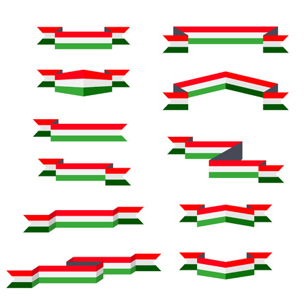 Ribbons. Flag of Hungary. Flat design. 矢量图像
