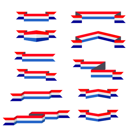 Ribbons. Flag of Netherlands. Flat design.