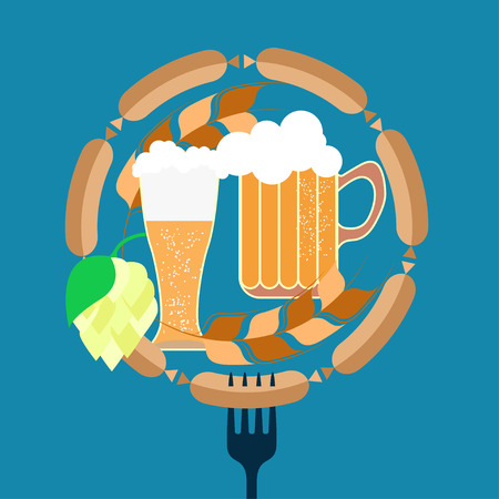 Beer, sausages, hops, wheat. Oktoberfest. Flat design