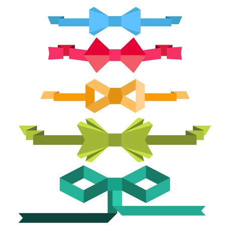 Bows with ribbon. Flat design Illustration