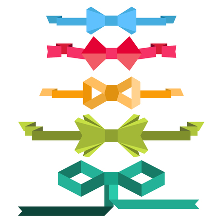 Bows with ribbon. Flat design Illustration