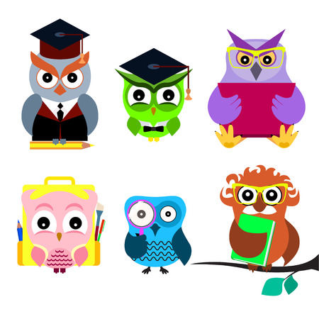 Cartoon smart owl set