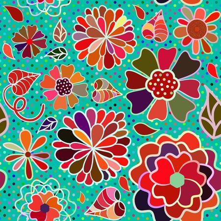 색상 만화 꽃 원활한 패턴
