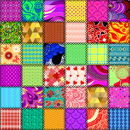 textile background: Abstract patchwork seamless pattern Illustration