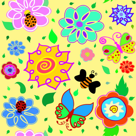 Color cartoon flower seamless pattern