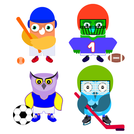 Cartoon sport owl set