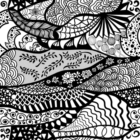 Seamless pattern in style zentangle ethnic, doodle.