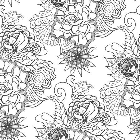 스타일 zentangle 민족적인 원활한 패턴, 낙서. 일러스트