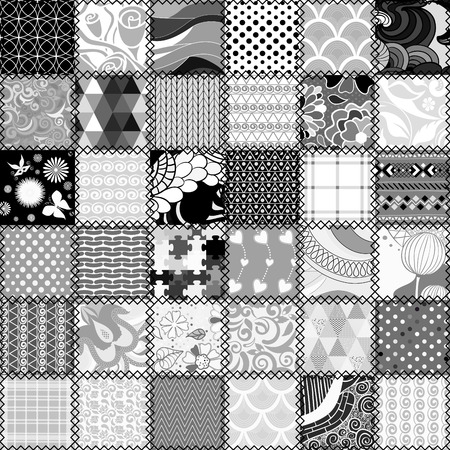 Abstract patchwork seamless pattern Ilustrace