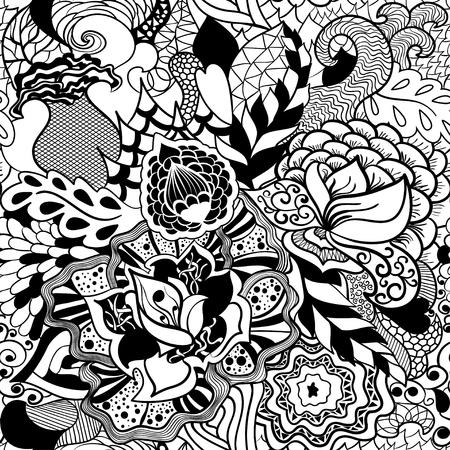 Flower seamless pattern in style  Illustration