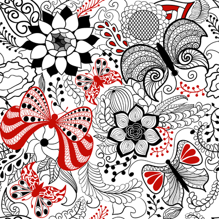 Flower seamless pattern in style  Illustration