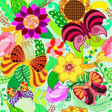 Floral hand drawn zentangle, ethnic seamless pattern with butterflies