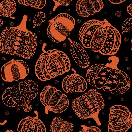 Cartoon seamless pattern with pumpkin. Pumpkin in style zentangle ethnic, doodle. Halloween background. Illustration