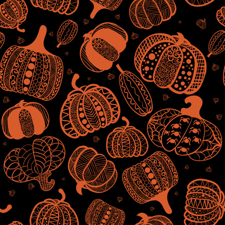 Cartoon seamless pattern with pumpkin. Pumpkin in style zentangle ethnic, doodle. Halloween background. Ilustração