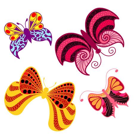 색 나비 스타일 zentangle 민족, 낙서입니다. 일러스트