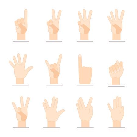 손 제스처. 평면 디자인. 손가락 하나, 손가락 2 개, 손가락 3 개, 손가락 4 개, 염소 제스처, 뿔 제스처.