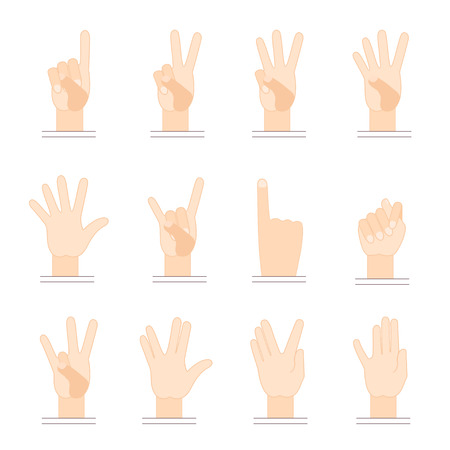 Gestures of hands. Flat design. One thumbs up, two fingers up, three fingers up, four fingers up, gesture goats, horns gesture.