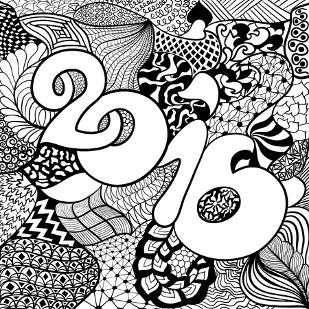 Year 2016 in style ethnic, doodle.