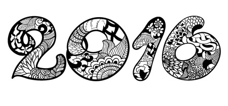 Year 2016 in style zentangle ethnic, doodle.