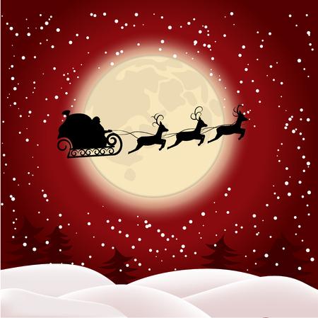 썰매, 달의 배경에 그의 순 록에서 산타 클로스의 실루엣. 일러스트