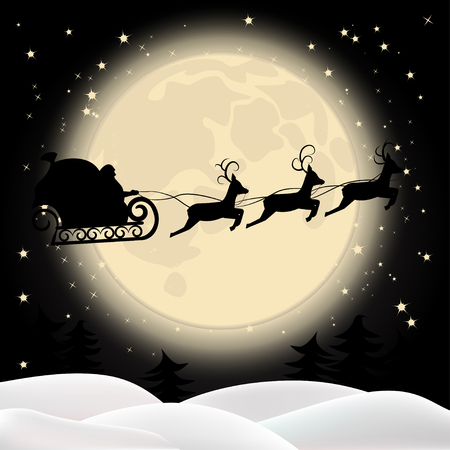 Silhouette of Santa Claus in a sleigh, his reindeer on the background of the moon.