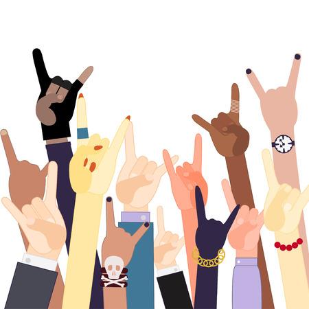 Hands horns gestures. Illustration