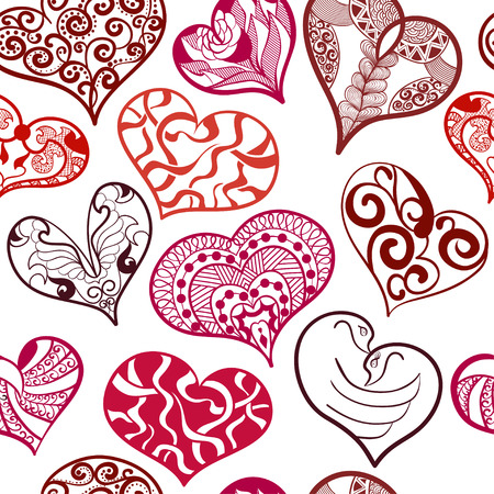 Seamless pattern of hearts in an ethnic, doodle,  style