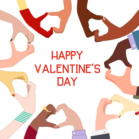 Hand gestures heart. Card on Valentine's Day. Flat design 免版税图像 - 51691073