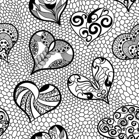 Seamless pattern of hearts in an ethnic, doodle, style Illustration