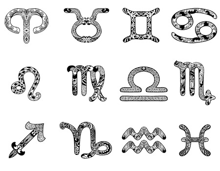Zodiac signs in an ethnic, doodle, zentangle style Illustration