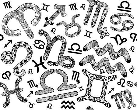 Seamless pattern of Zodiac signs in an ethnic, doodle, zentangle style
