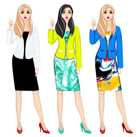 illustration womens an index finger up. Ilustração