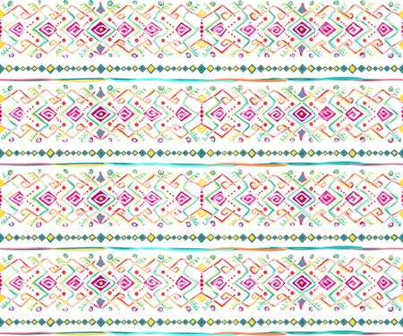 Geometric seamless pattern in style  (ethnic, doodle). Horizontal colored striped background
