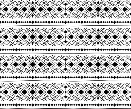 Geometric seamless pattern in style  (ethnic, doodle). Horizontal black and white striped background Illustration