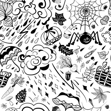 Autumn seamless pattern in style  ethnic, doodle