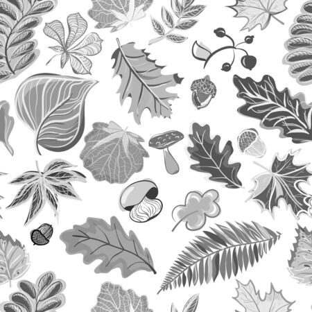Autumn seamless pattern in hand draw style (ethnic, doodle) Illustration